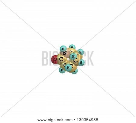 Caprolactam is an organic compound. This colourless solid is a lactam or a cyclic amide of caproic acid. 3d illustration