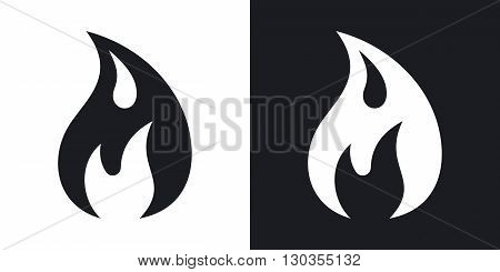 Vector fire icon. Two-tone version on black and white background