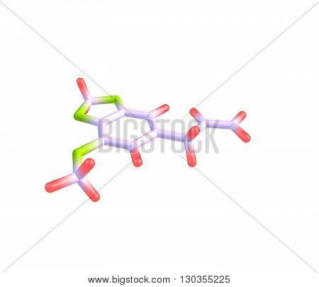 Myristicin is a phenylpropene a natural organic compound present in small amounts in the essential oil of nutmeg and to a lesser extent in other spices such as parsley and dill. 3d illustration