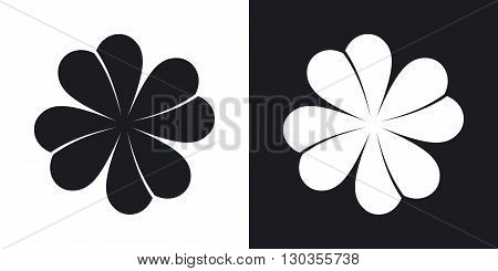 Vector four-leaf clover icon. Two-tone version on black and white background
