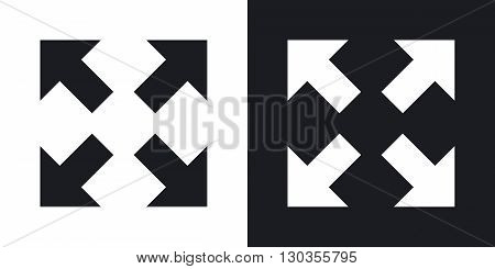 Vector full screen icon. Two-tone version on black and white background