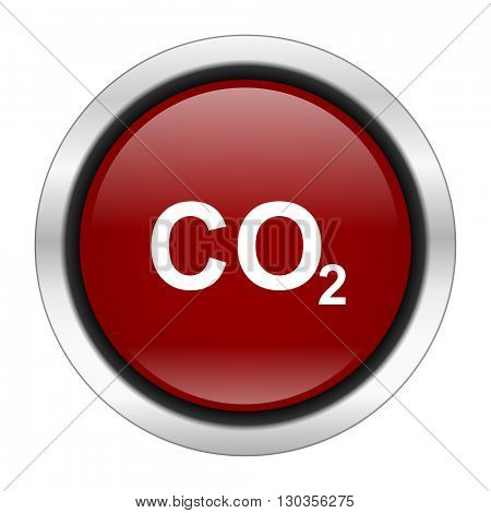 carbon dioxide icon, red round button isolated on white background, web design illustration