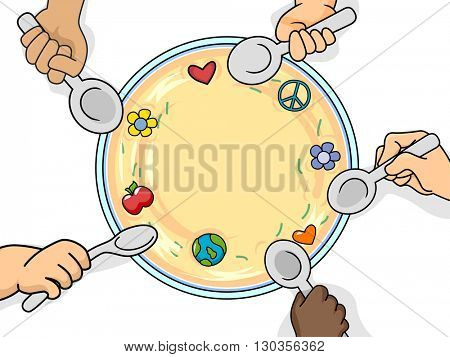 Illustration of Kids Sharing a Bowl of Food