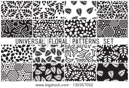 Universal floral seamless patterns set. Endless vector texture can be used for wrappingwallpaper, pattern fills, web page background, surface textures. Set of monochrome different vegetal ornaments