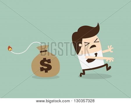 Businessman Running Away From Money Bomb Inflation Concept. Cartoon Vector Illustration