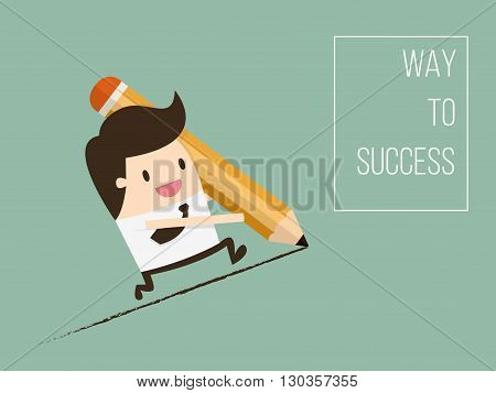 Way To Success Concept of Business Opportunity. Flat Design Cartoon Vector Illustration