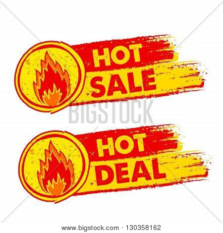 hot sale and deal on fire banners - text in yellow and red drawn labels with flames signs business shopping concept