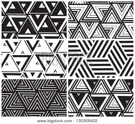 Set Of Universal Vector Geometric Seamless Pattern