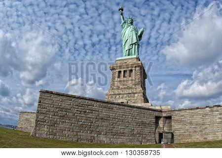 Statue Of Liberty In The Deep Blue Sky