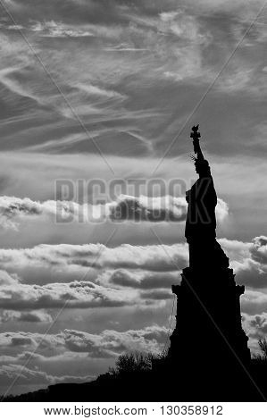 Statue Of Liberty Black And White Vertical Isolated Silhouette