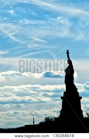 New York Statue Of Liberty Vertical Silhouette