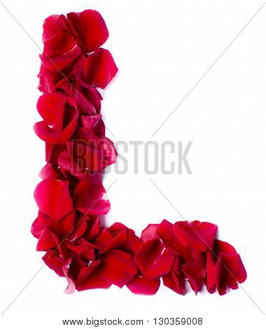 Alphabet L Made From Red Rose