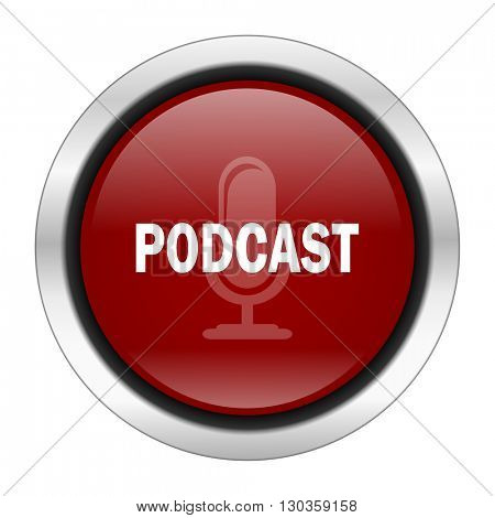 podcast icon, red round button isolated on white background, web design illustration