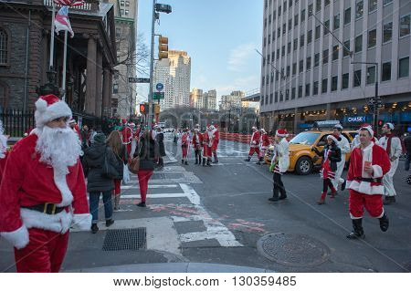 New York, Usa - December 10, 2011 - People Deressed As Santa Claus Celebrating Xmas