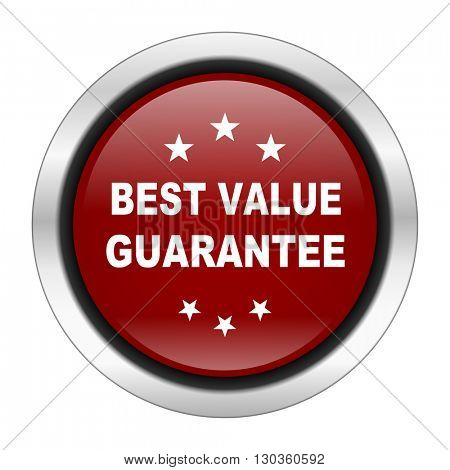 best value guarantee icon, red round button isolated on white background, web design illustration
