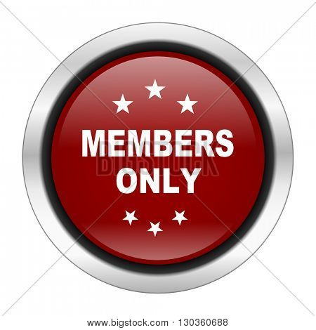 members only icon, red round button isolated on white background, web design illustration