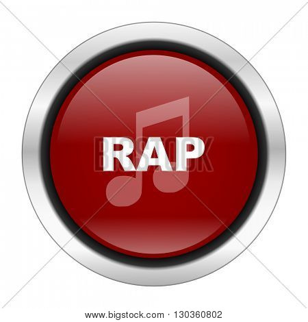 rap music icon, red round button isolated on white background, web design illustration