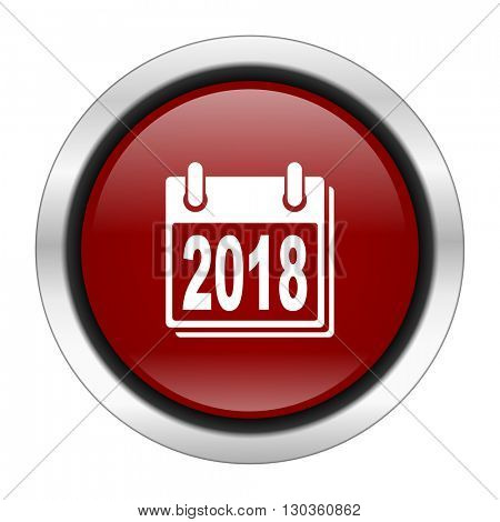 new year 2018 icon, red round button isolated on white background, web design illustration