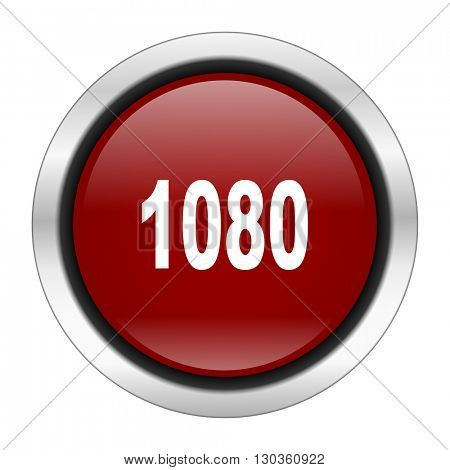 1080 icon, red round button isolated on white background, web design illustration
