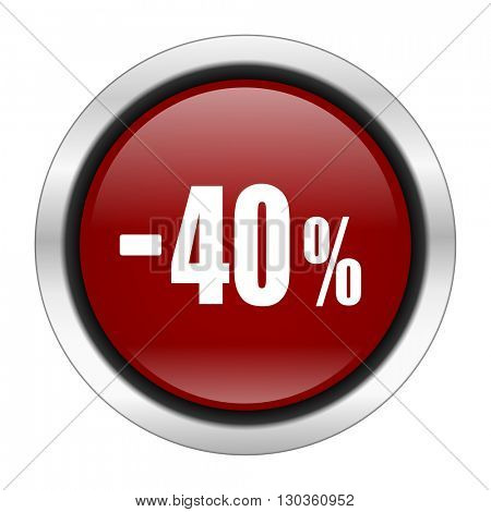 40 percent sale retail icon, red round button isolated on white background, web design illustration