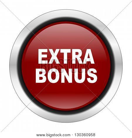 extra bonus icon, red round button isolated on white background, web design illustration