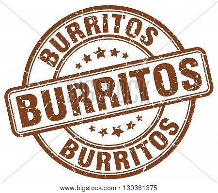 burritos brown grunge round vintage rubber stamp