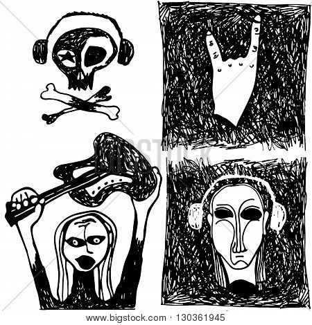 4 elements of black and white hand drawn doodle vector illustration of rock-n-roll