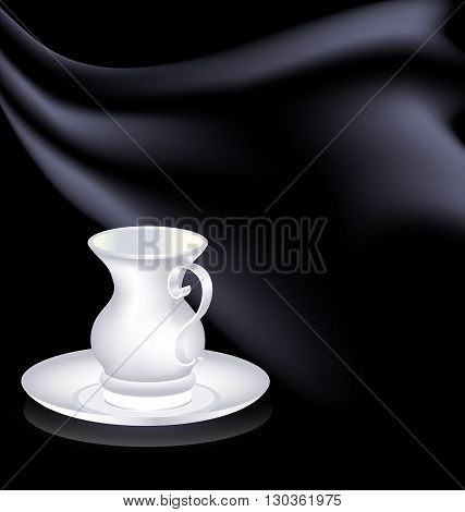 dark background and the white cup with black drape