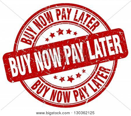 buy now pay later red grunge round vintage rubber stamp
