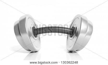 3D rendering of adjustable metallic dumbbell with a bend, isolated on white background.