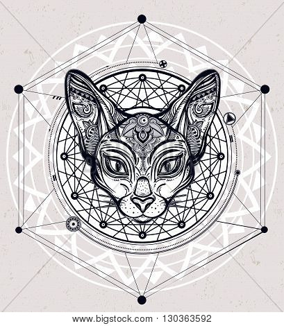 Vintage ornate cat head with ornaments and geometric design element. Ethnic background, tattoo art, spirituality, boho design. Perfect for print, posters, t-shirts and textiles. Vector illustration.