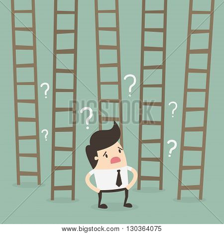 Ladder to success. Business choices concept. Business Concept Cartoon Illustration.