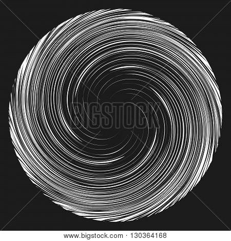 Vortex speed lines background. Storm swirl element in manga or pop art style on black vortex background.