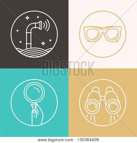 Vector abstract illustration in flat style - periscope binoculars glasses magnifier - surveillance and control concept - social network broadcasting
