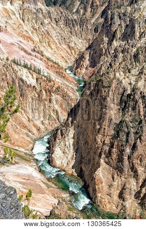 Yellowstone Canyon View With Fall And River