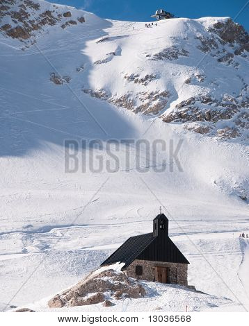 Lonely Church In The Zugspitze, Germany