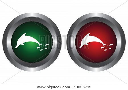 Two buttons with a dolphin