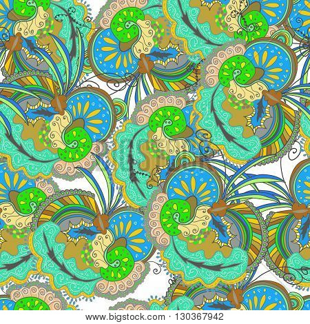Seamless floral pattern in doodle style. Gypsy pattern.