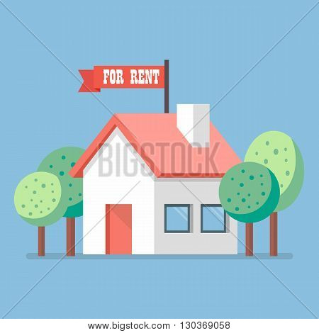 House for rent flat icon. Business concept