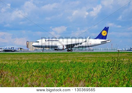 SAINT PETERSBURG RUSSIA - MAY 11 2016. Lufthansa Airbus A320 airplane -registration number D-AIUK. Airplane rides on the runway after arrival in Pulkovo International airport