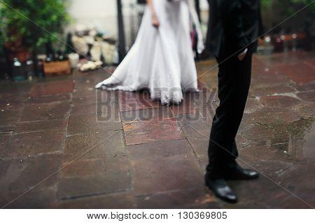 Romantic Bride & Groom On Old European Street, Feet Closeup