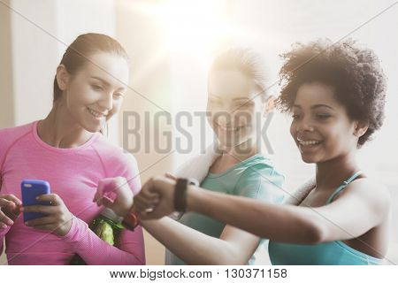 fitness, sport, training, gym and lifestyle concept - happy women showing time on wrist watch in gym