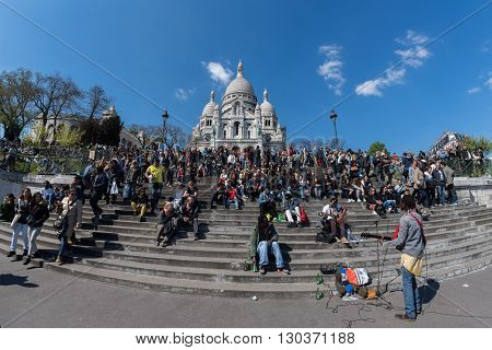 Paris, France - May 1 2016 - Montmartre Stairway Crowded Of People For Sunday Sunny Day
