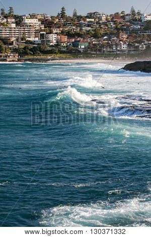 Australia, Bondi Beach Surfers Riding Big Waves