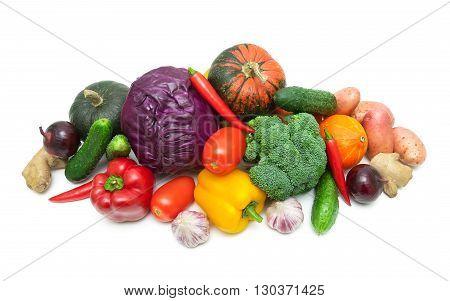 fresh ripe vegetables on white background. top view - horizontal photo.