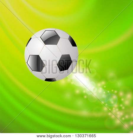 Sport Football Icon on Green Blurred Wave Background