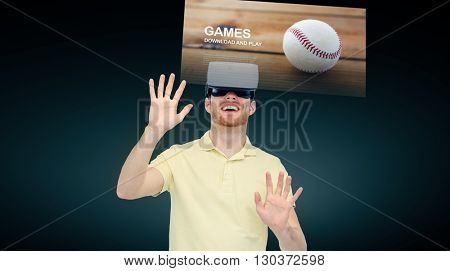 3d technology, virtual reality, cyberspace, entertainment and people concept - happy young man with virtual reality headset or 3d glasses playing sport game over black background