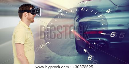 3d technology, virtual reality, entertainment and people concept - happy young man with virtual reality headset or 3d glasses playing car racing game over tachometer and street race background