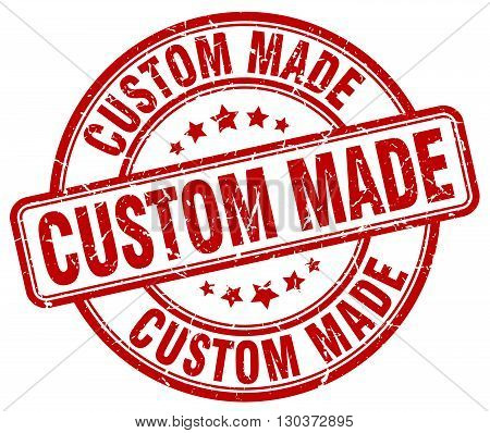 custom made red grunge round vintage rubber stamp