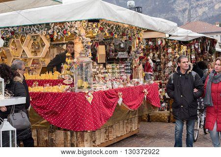 Trento, Italy - December 1, 2015 - People At Traditional Xmas Market